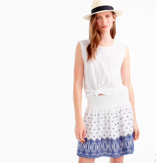 b6b21aed08d J. CREW Embroidered gauze eyelet skirt- White Blue- XS