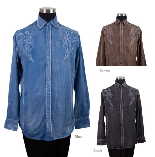 New Men/'s Casual Cotton Embroidered Western Shirt Color Black White Blue Red
