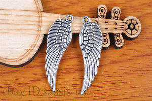 10pcs-30mm-charm-angel-wing-pendant-Diy-Jewelry-For-Bracelet-Tibet-Silver-7099