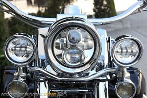 "7"" led projection head light lamp chrome for harley davidson flh"