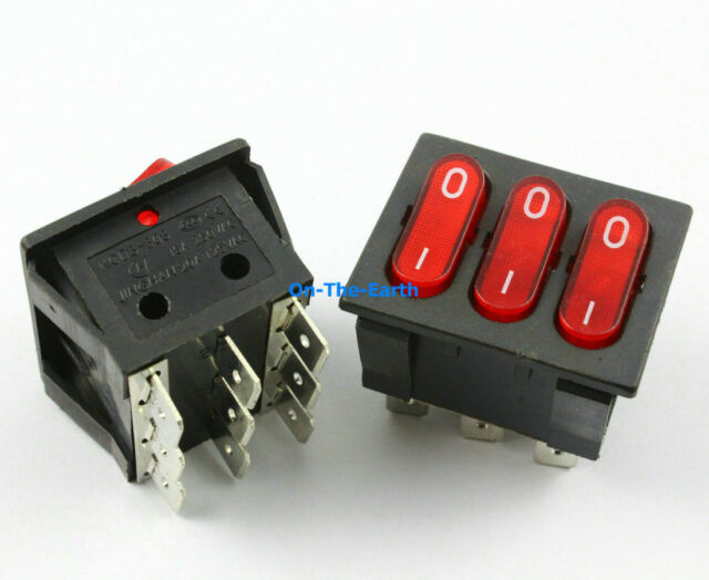 5 Pieces Red 9 Pin Boat Rocker Switch AC 250V/15A 125V/20A KCD3-303