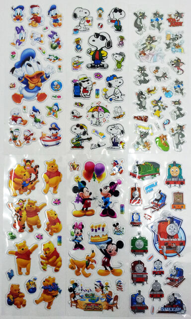 3D puffy bubble famous cartoon stickers scrapbook birthday gift collection