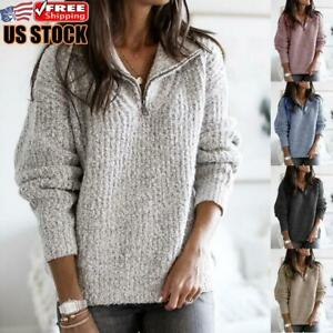 Women-Casual-Pullover-Loose-Sweater-Ladies-Long-Sleeve-Jumper-V-neck-Zipper-Tops