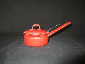 vintage 3pc porcelain enamel pot strainer lid play pretend good condition ebay. Black Bedroom Furniture Sets. Home Design Ideas