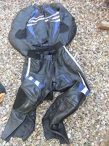 Motorcycle-leathers-2-piece-TK-2-KEEN-GERICKE-48-white-black-amp-BLUE-36-034-c-38-034-w
