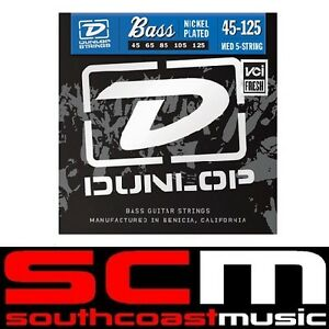 Jim Dunlop DBN45125 Bass Guitar Strings Set 5 String Nickle plated 45 to 125
