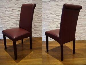 Italienische Weinrot Echtleder Stühle Esszimmer Echt Leder Stuhl Lederstühle  eBay