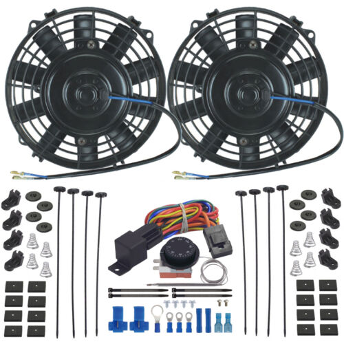 """DUAL 8"""" INCH ELECTRIC OIL COOLER FAN ADJUSTABLE TEMP CONTROLLER SWITCH WIRE KIT"""