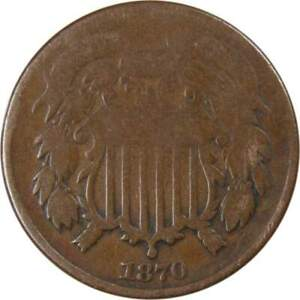 1870 Two Cent Piece AG About Good Bronze 2c US Type Coin Collectible