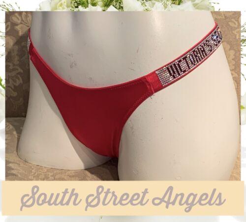 VICTORIA/'S SECRET LIPSTICK RED RHINESTONE SHINE STRAP THONG PANTIES  LARGE