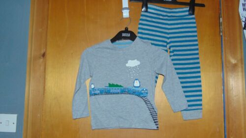 M/&S Cotton Rich /'Penguin Express/' Pyjamas Set 12-18m 83cm GreyMix BNWoT