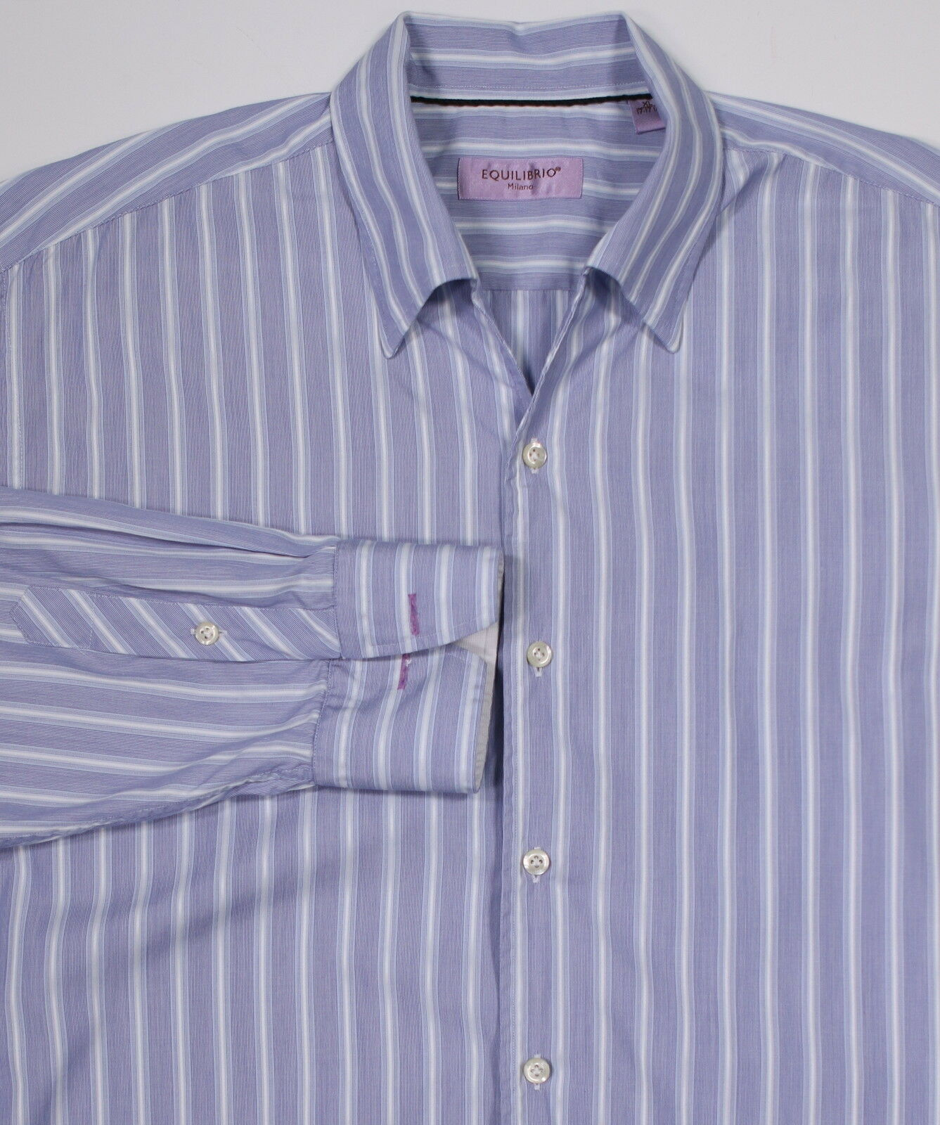 EQUILIBRIO bluee Striped Open-Collar Dress-Casual Shirt XL-17-17.5