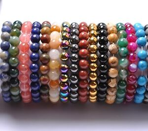 FREE-SHIPING-6MM-Natural-Gemstone-Round-Beads-Stretchy-Bracelets