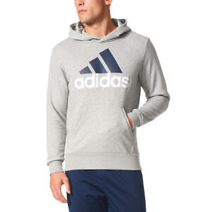 22b87d90deb Image is loading Adidas-Men-Hoodie-Running-Linear-Pullover-Training-Grey-