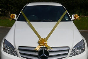 GOLD Wedding Car Decoration Kit Large Bows & 7m Ribbon ...