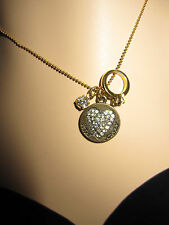 BETSEY JOHNSON VINTAGE BETSEY BLING HEART WITH RING AND ANGEL ON BACK NECKLACE