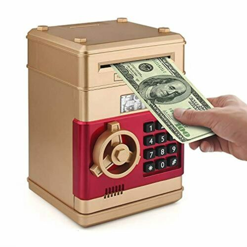 Setibre Piggy Bank Electronic ATM Password Cash Coin Can Auto Scroll Paper Mone