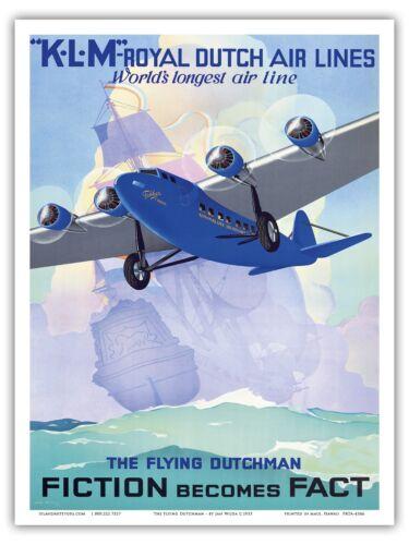 Flying Dutchman KLM Vintage Airline Travel Art Poster Print