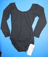 Black Microfiber Long Sleeve Leotard Child Large Great For Class & Costuming