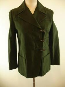 Womens-M-10-sz-44-Iceberg-Italy-Green-Cotton-Duffle-Toggle-Jacket-Coat-Military