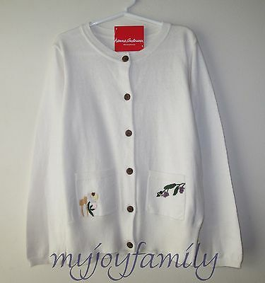 HANNA ANDERSSON Embroidered Soft Cardigan Sweater Soft White 120 6-7 NWT