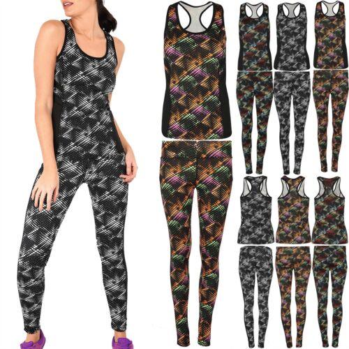 Débardeur Femme Gym Entraînement abstruct Running mousseline Panneau Pantalon ACTIVE WEAR Set