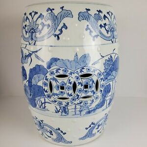 Chinese Export Porcelain Garden Seat Blue White Barrel Form Height 18 Inches