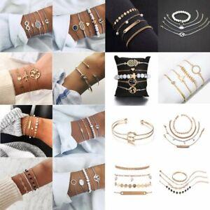 Fashion-Charm-Women-Stainless-Steel-Cuff-Open-Boho-Beaded-Chain-Bracelet-Bangle