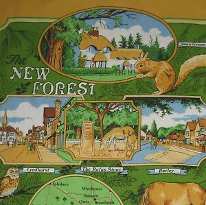 The New Forest Cottages & Animals Tea Towel UK British Cotton Richlin Yellow