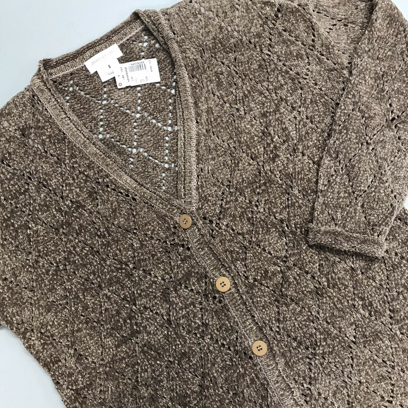 Jones New York Cardigan Sweater Button Down V Neck Mushroom Easy Elegance Small
