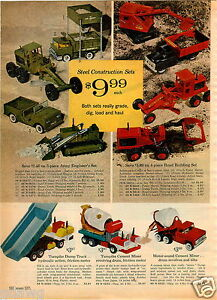 1965 PAPER AD Structo Toy Trucks Army Engineer Garbage Truck