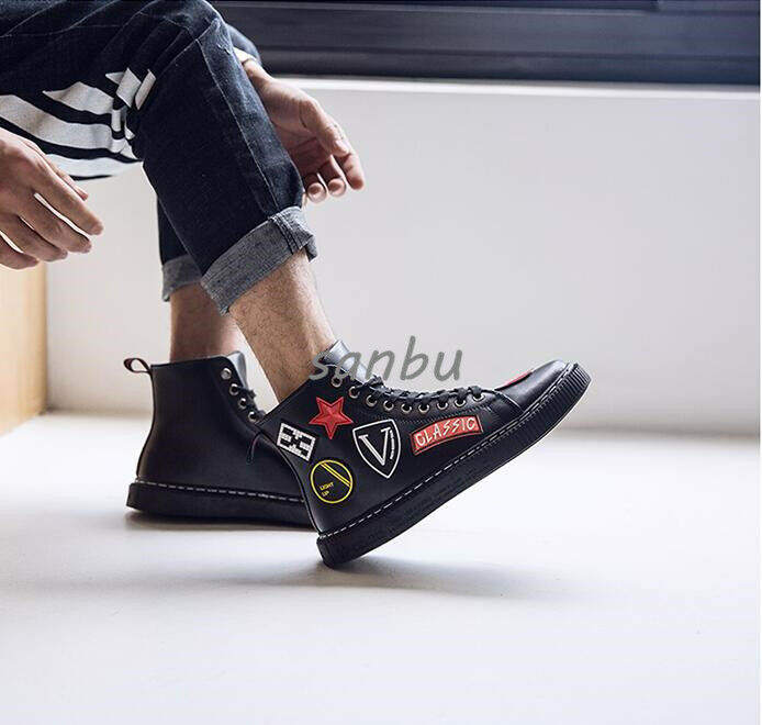 High-Top Men's Synthetic Leather Lace Up Hip Hop Floral Print Street Board shoes