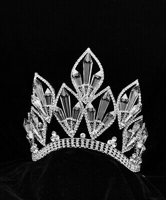 LIMITED NEW Rhinestone Pageant Crystal Crown Tiara Drag Queen 6 inch USA SELLER