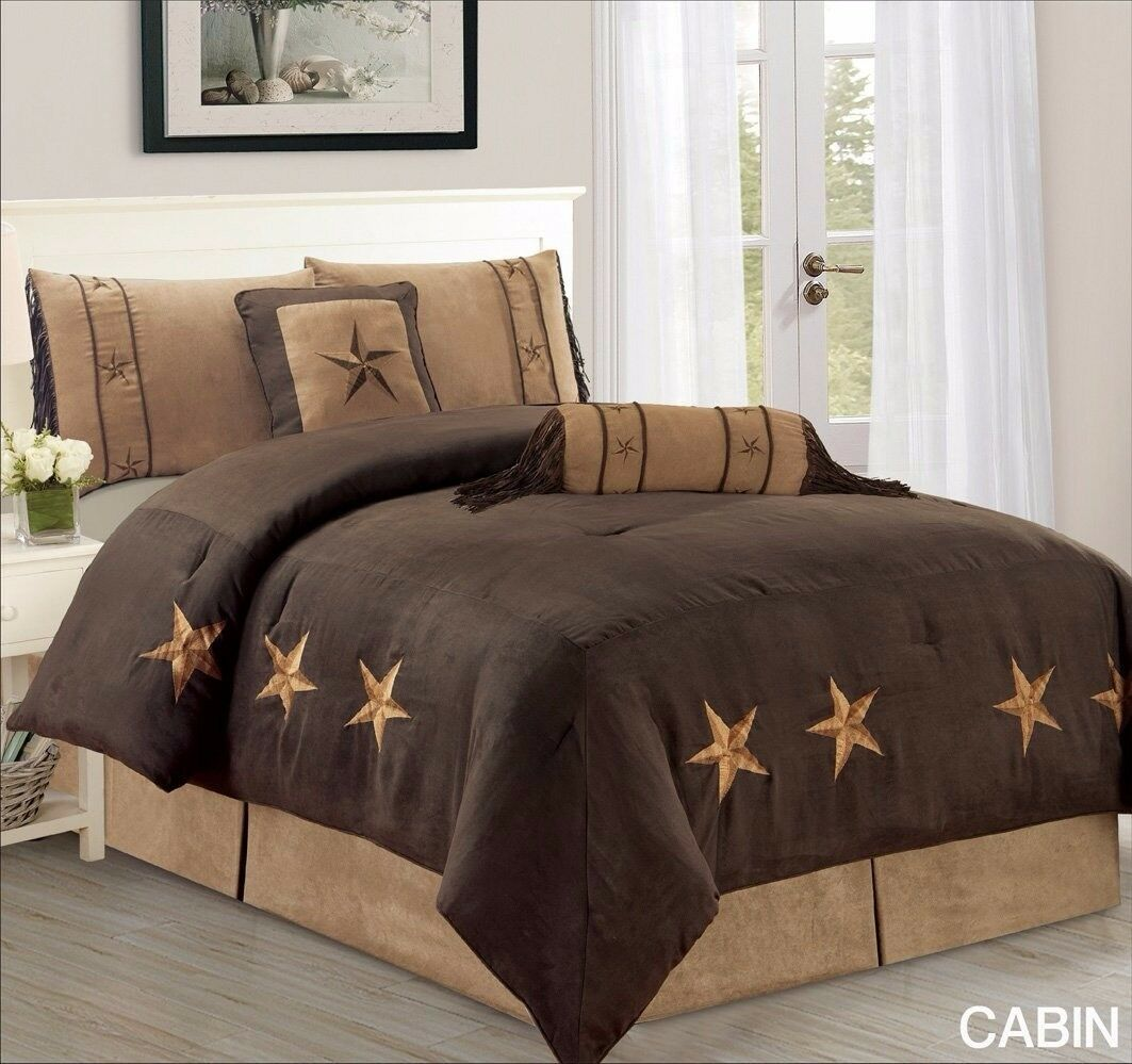 Western Lodge OverTaille couette ensemble bcourir foncé Lone Star Micro Daim Taille roi