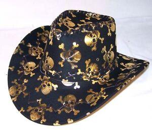 BLACK COWBOY HAT W GOLD SKULL X BONES western headwear hats rodeo ... 8a1bcb4aa1a
