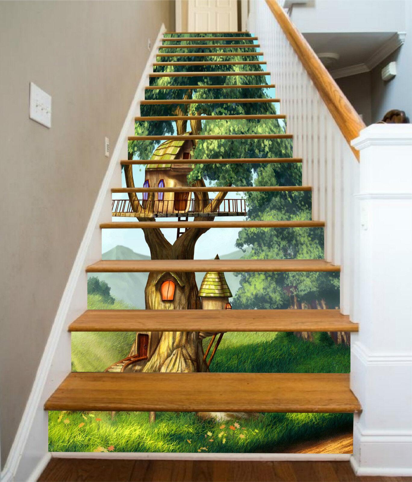 3D Baum Haus 374 Stair Risers Dekoration Fototapete Vinyl Aufkleber Tapete DE