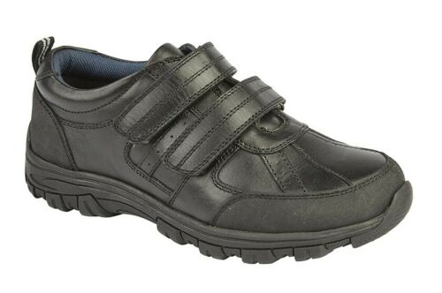 Size 8 9 10 11 12 13 1 2 3 4 5 BOYS Touch Fastening Black Leather School Shoes