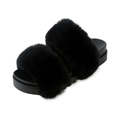 Autumn Winter Women Plush Real Rabbit Fur Slippers Slide Platform Sandals Shoes