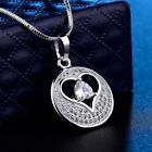 Silver Gold Filled Sapphire Crystal Vintage Engagement Pendant Necklace Jewelry