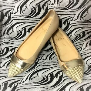 Ivanka-Trump-Cream-Snakeskin-Accent-Pointed-toe-Flat-Shoes