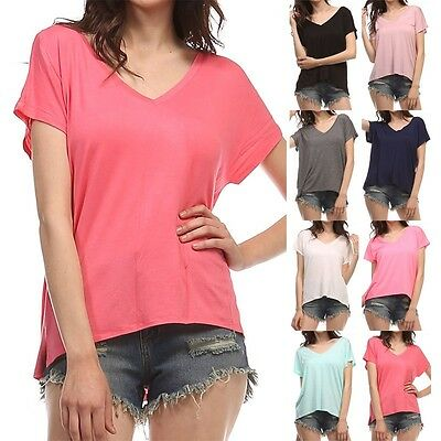 Oversize V-Neck Solid Plain Top Short Sleeve Casual Easy Wear Comfy Rayon S M L