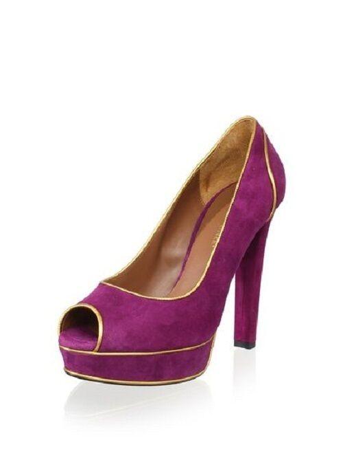 Donald J Pliner BLAIR Raspberry Purple Suede Heel Peep Toe Platform High Heel Suede - 9.5 M 3b494d