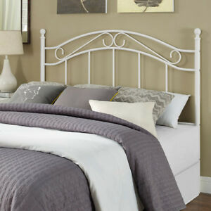 Full Queen Size Bed Frame Metal White Bed Headboard Modern