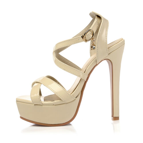 Women Stiletto Shoes Synthetic Leather High Heels Pumps Strappy Sandals Plus Sz