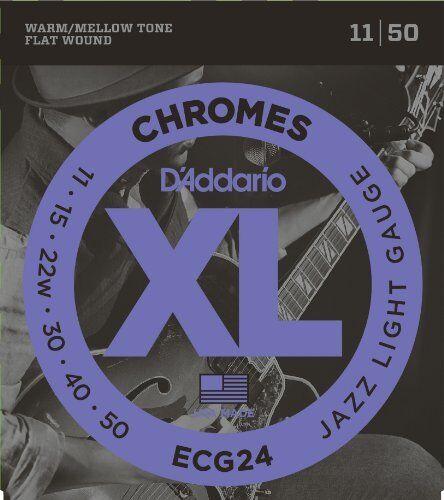 10 Sets D/'Addario ECG24 Chromes Flat Wound Jazz Light 11-50 Guitar Strings