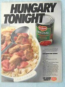 1990-Magazine-Advertisement-Ad-Page-Del-Monte-Tomatoes-Hungarian-Pork-Recipe
