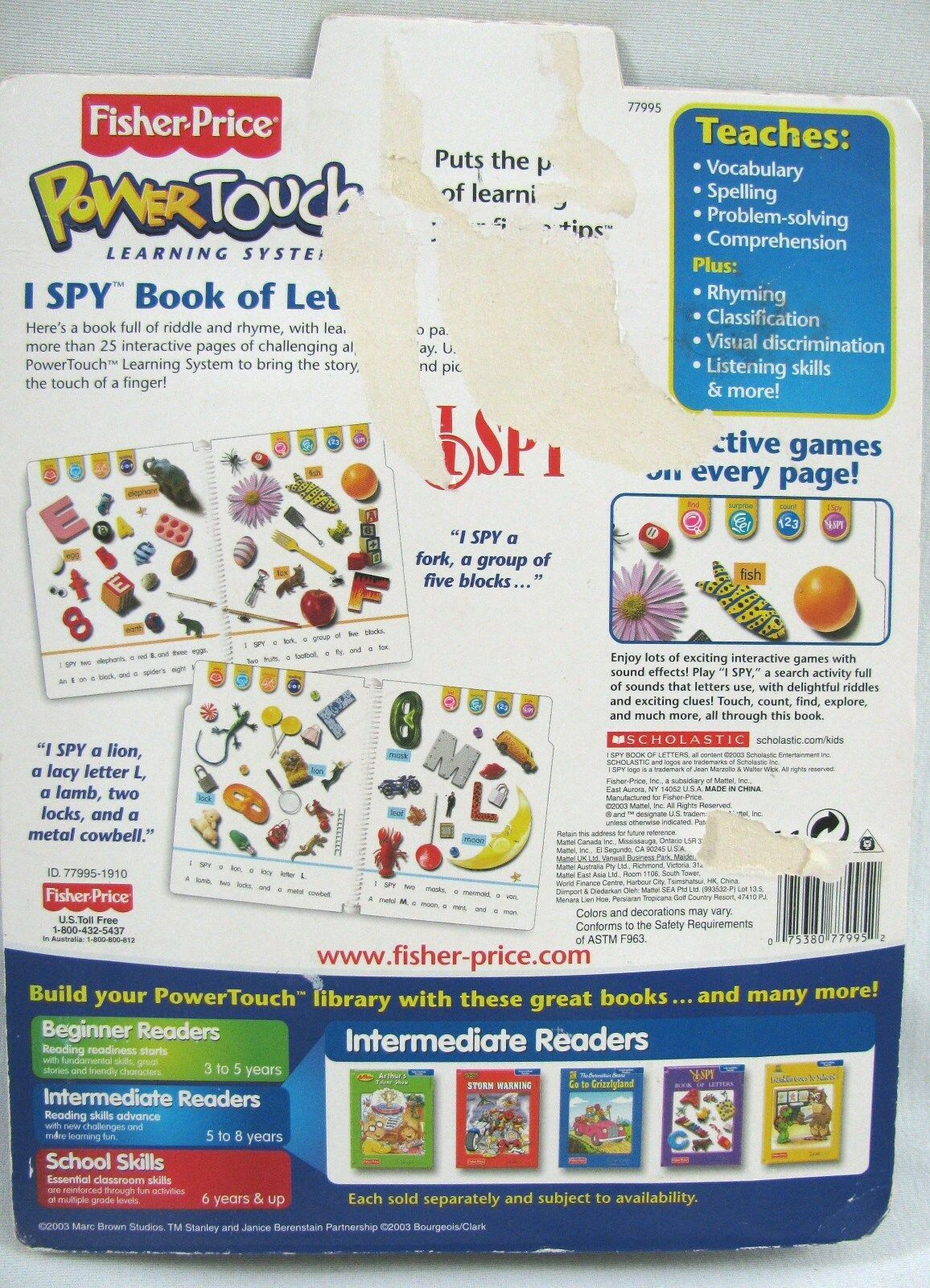 Fisher PowerTouch Learning System- I Spy Book of Letters