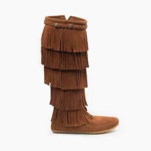 Layer Fringe Boot Brown Suede | eBay