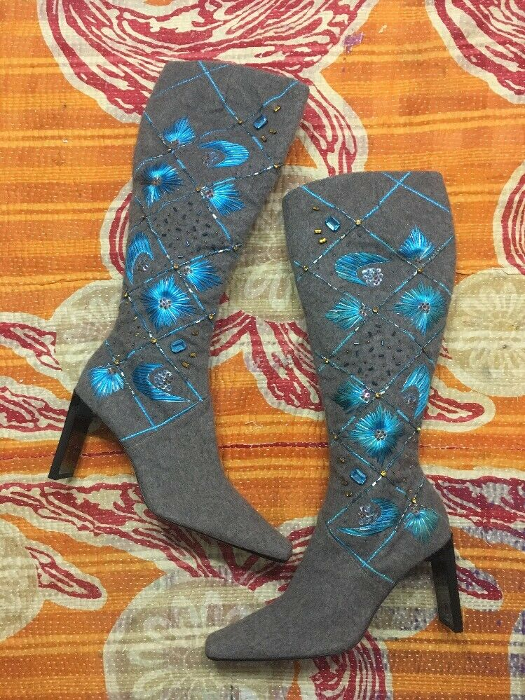 RARE Sergio Rossi Grey Cashmere Embroidered Gem Stone Heel Knee High Boots 36.5