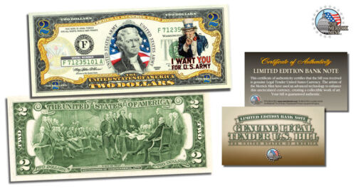 $ 2 USA ARMY UNCLE SAM COLORIZED 2 DOLLAR BILL*LEGAL TENDER USA GIFT CURRENCY